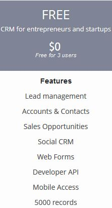 Free package from Zoho CRM